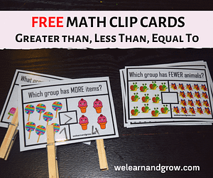 Greater than less than equal to math clip cards