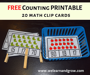 counting printables math clip cards