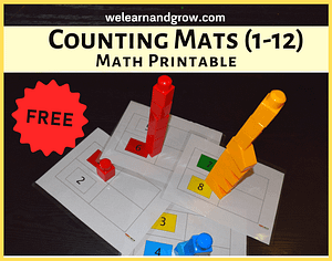 """""""FREE Block Counting Mats Printable I Color Matching I Math Printable for Toddlers - We Learn and Grow"""""""