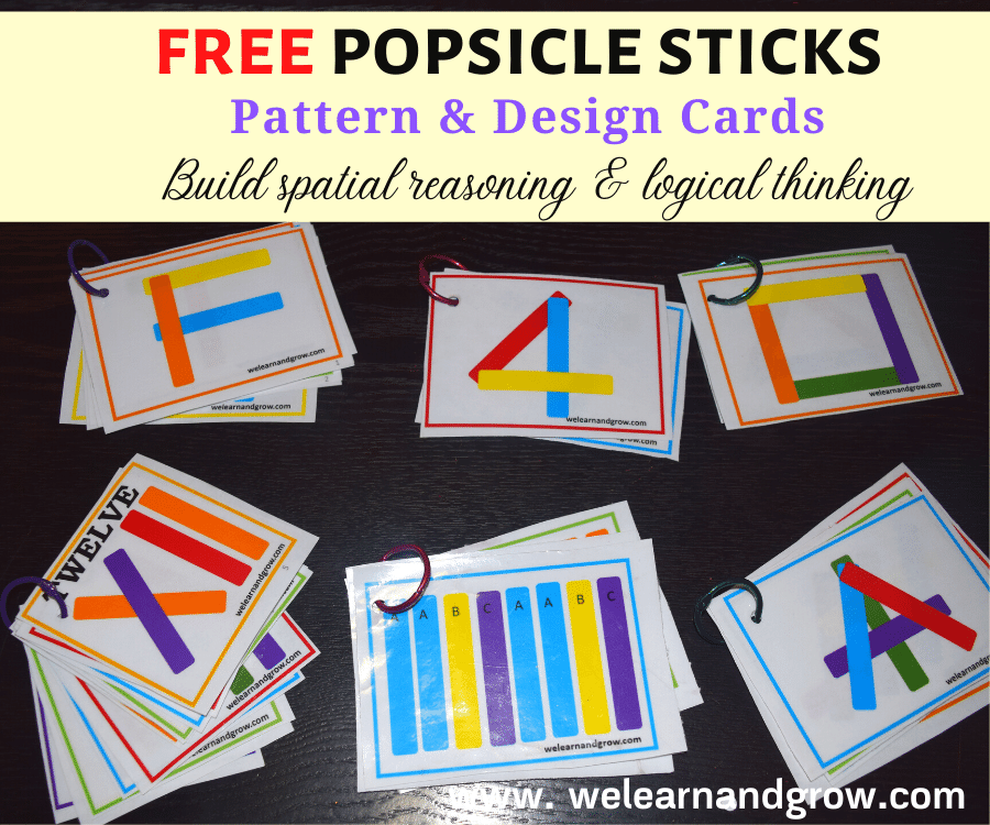 Are you looking for some pattern activities to keep your child engaged? Then, try these FREE popsicle stick pattern and design cards. Use these cards as reference to build patterns, alphabets, numbers, shapes, words and more.
