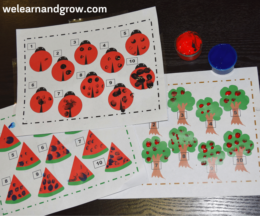 Fingerprint counting printable for kids - FREE Math activity - we learn and grow