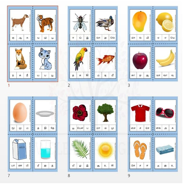 Tamil Beginning Letter Clip Cards