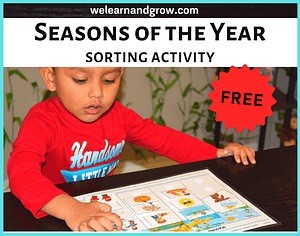 """""""FREE Seasons of the Year Printable I Sorting Activity - We Learn and Grow"""""""