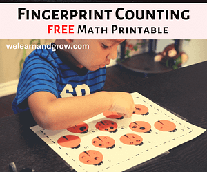 Fingerprint counting printable for kids - FREE Math activity