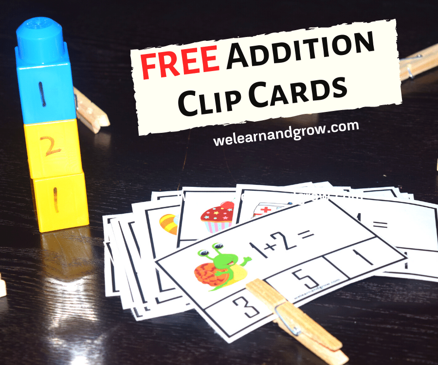 Free addition printable - 20 addition clip cards