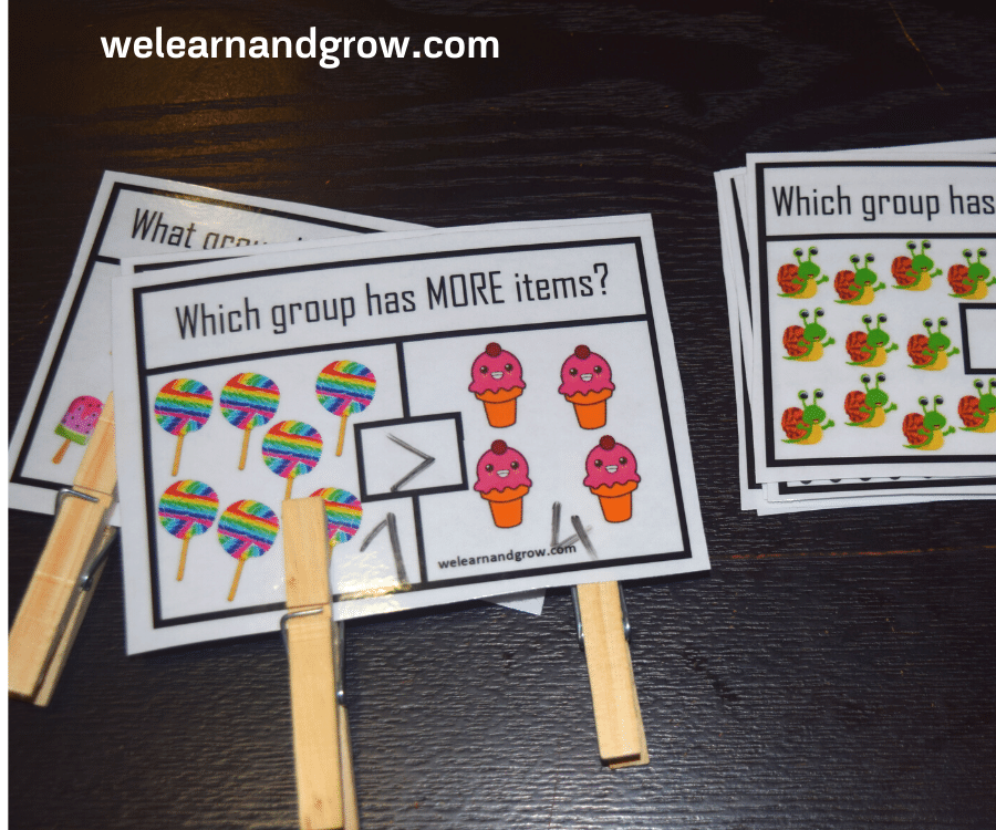 Greater than less than equal to math clip cards printable
