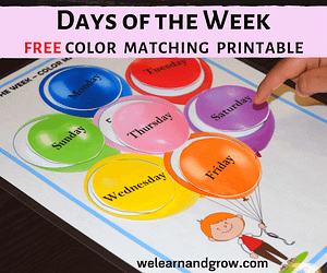 Days of the week activity free color matching printable