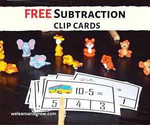 Free subtraction printable - 20 subtraction clip cards