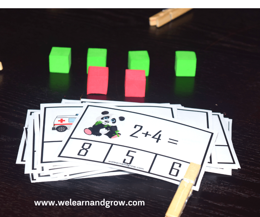 Free Addition Printable for Kids - 20 Math Clip Cards